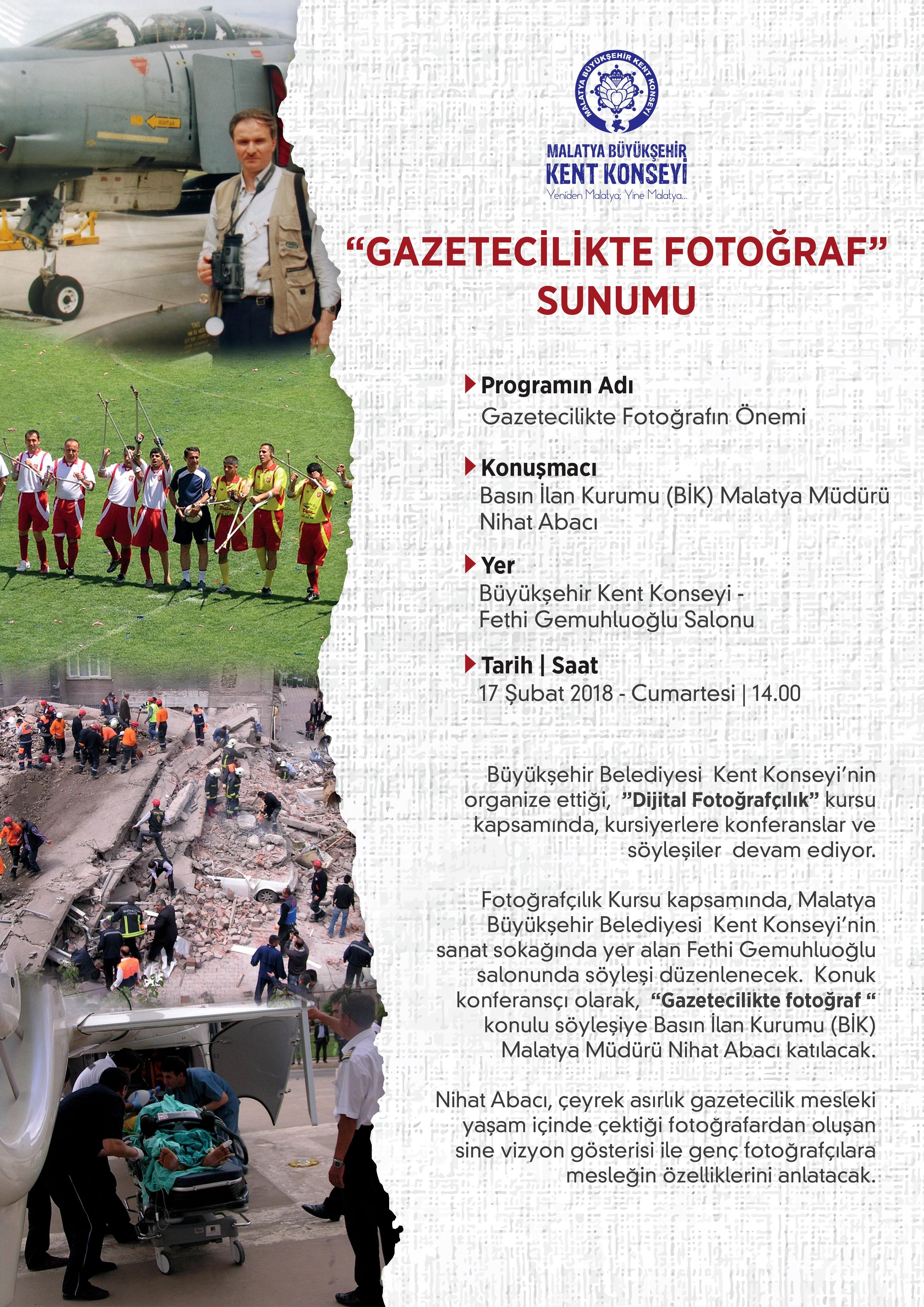"""""""GAZETECİLİKTE FOTOĞRAF"""" KONULU SUNUM VE SÖYLEŞİ YAPILACAK"""