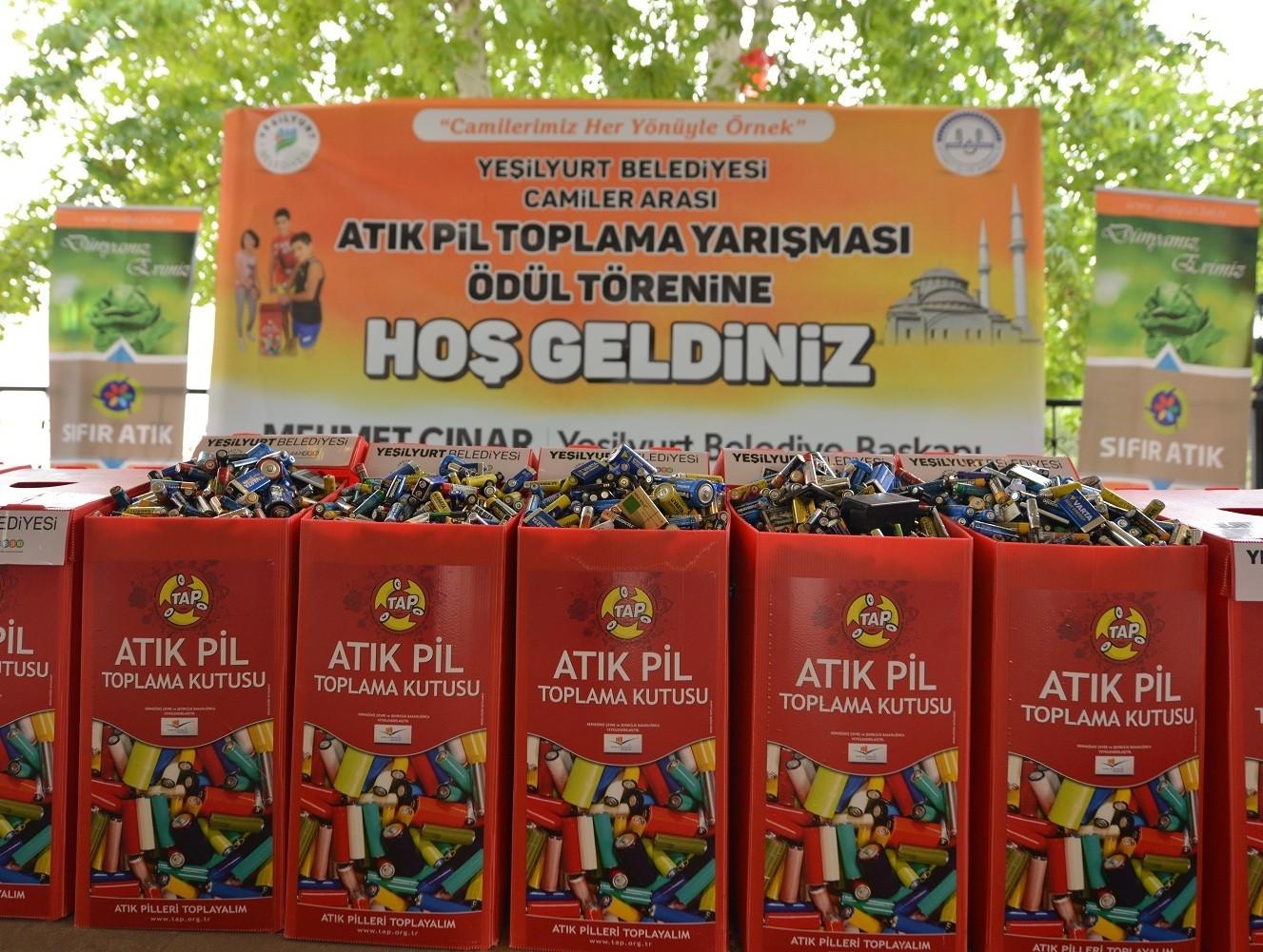 YEŞİLYURT'TAKİ 161 CAMİDE 665 KİLO ATIK PİL TOPLANDI